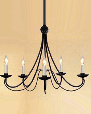 6-Bulb Wrought Iron Chandelier